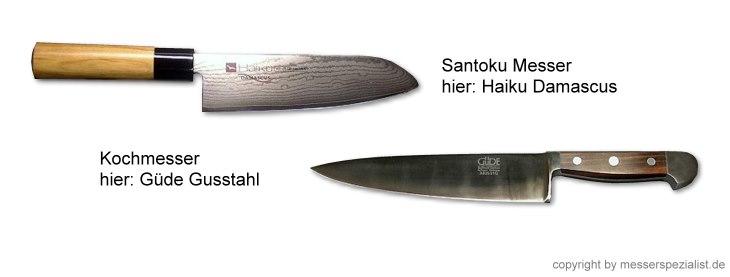 Kochmesser und Santoku
